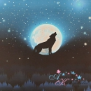 PANEL Baumwollsweat Wolf Moon BLAU ~ Lycklig Design